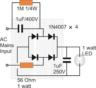 Simplest 1 Watt LED Driver Circuit at 220V/110V Mains