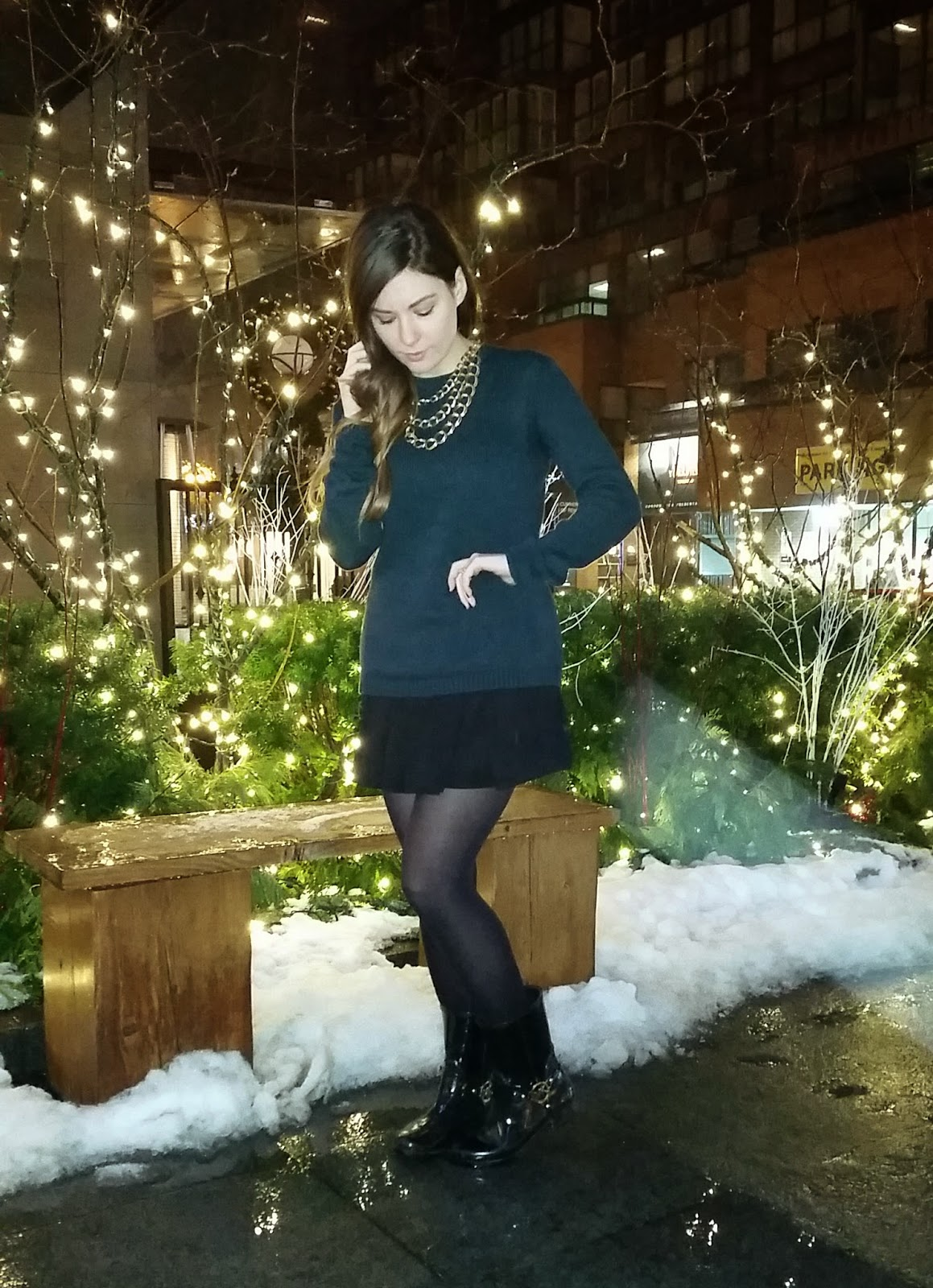 Knit Sweater, Skater Skirt, Michael Kors rainboots, Brandy Melville