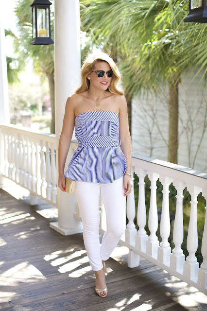 stripe bustier top white jeans and manolo blahnik cork wedges