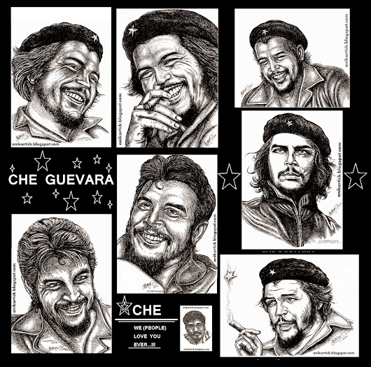 CHE GUEVARA - Ernesto CHE GUEVARA - Art / Illustration / Pen Drawing / Line Drawing / Sketches Done by Anikartick,Chennai,TamilNadu,India