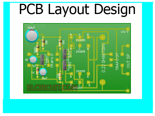 PCB Layout Design (Top View with Component Placement)
