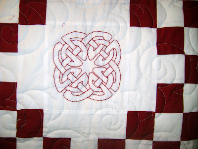red white quilt; celtic knot