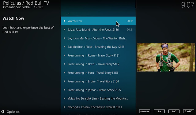 Canal de TV RED BULL en directo desde Kodi