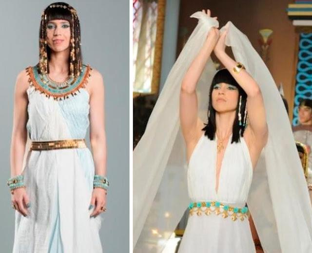 Figurino princesa Henutmire (Mel Lisboa), mãe do Moisés, novela os Dez Mandamentos