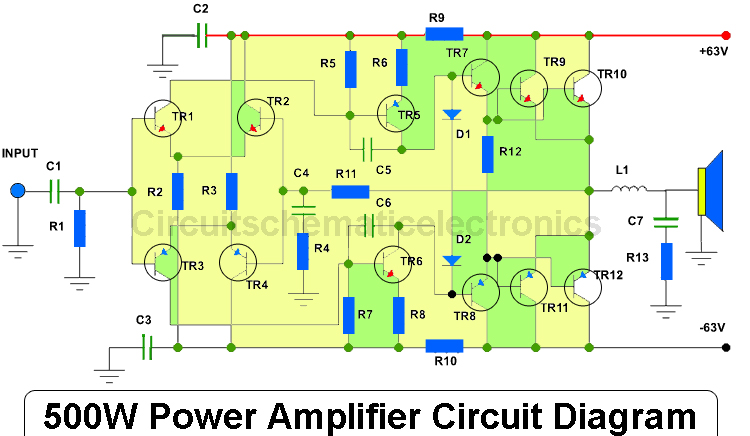 500w power amplifier 2sc2922  2sa1216 with pcb layout amplifier circuit diagrams free download amplifier circuit diagram 386