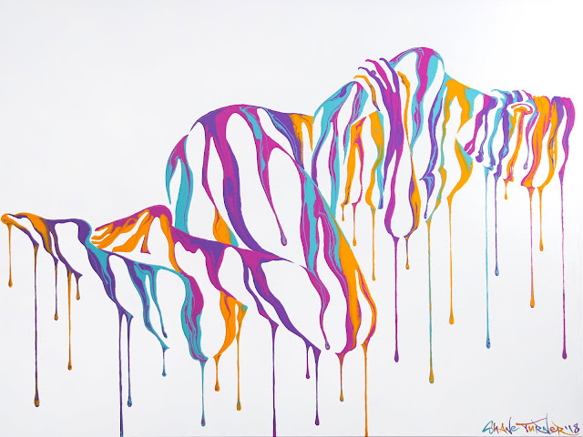 Acrylic Painting of a woman taking a nap sleeping. Surreal abstract dripping paint creating the image of a woman's body in a sleeping pose.