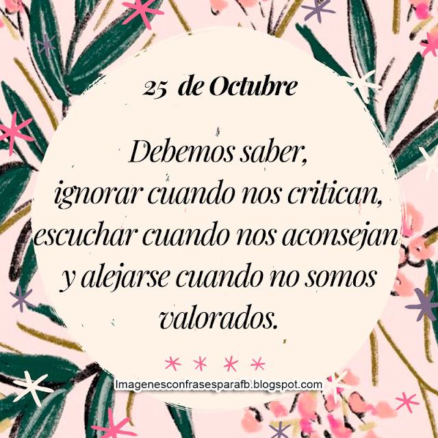 Frase del Día 25 de Octubre