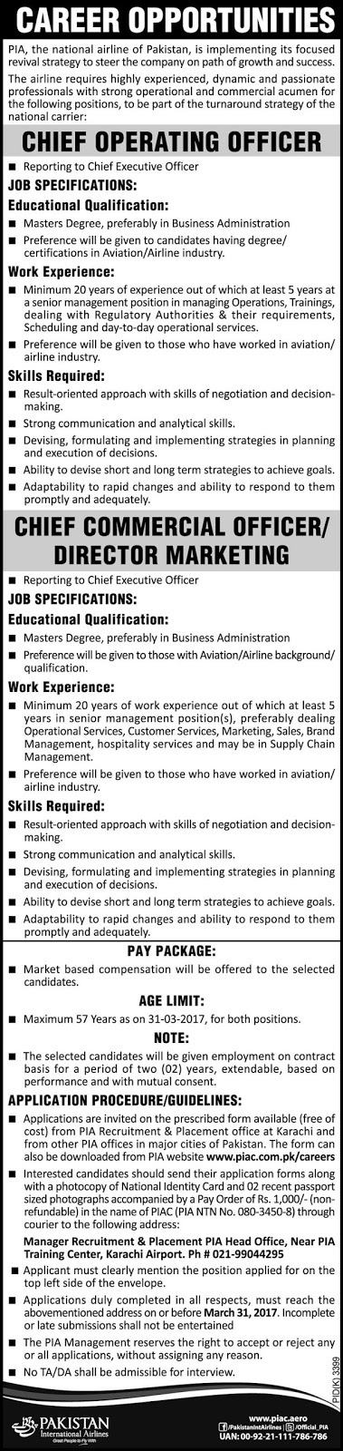 Jobs In Pakistan International Airlines PIA Latest