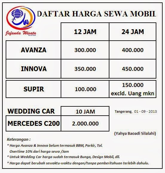 Tour And Travel Jual Tiket Promo Jasa Antar Jemput: JEFANDA WISATA: Daftar Harga Rent Car Di Jefanda Wisata