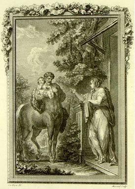«Окирроя предсказывает Хирону судьбу Асклепия», Шарль Эйзен (1769)