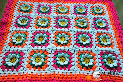 "Crochet pattern ""Flower blanket afghan"" by marifu6a"