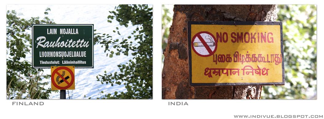 Tupakointi kielletty - kyltti Suomessa ja Intiassa