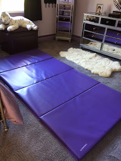 Greatmats folding gym mat purple over carpet