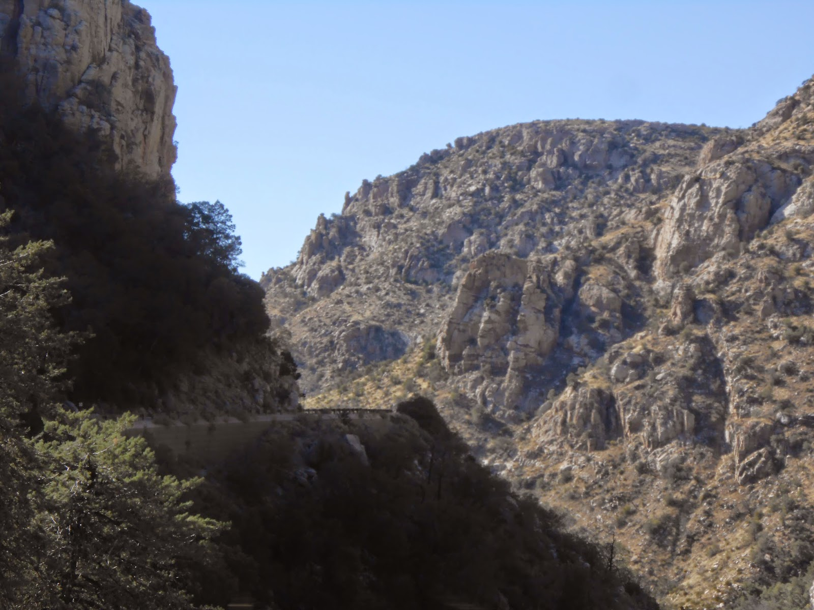 driving the catalina highway up mount lemmon in the fall