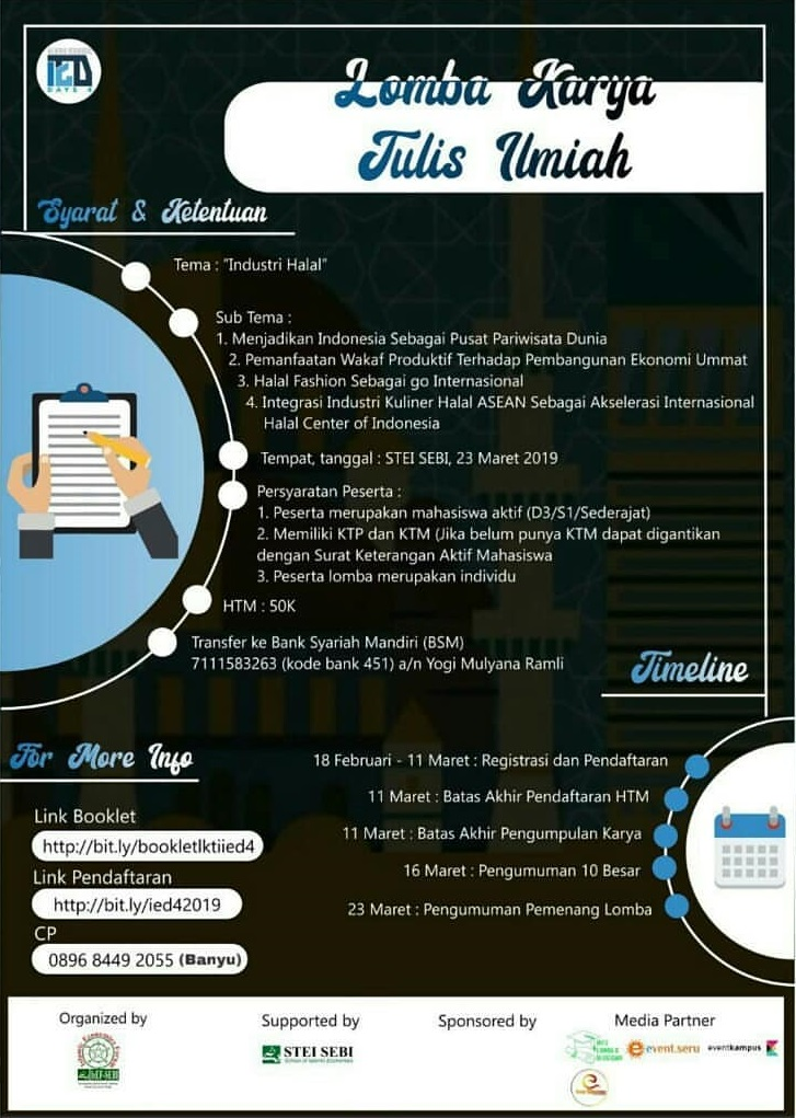 Lomba LKTI Nasional Islamic Economic Days 2019 Mahasiswa