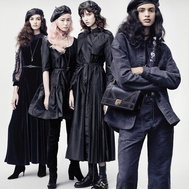 Camille Hurel, Fernanda Ly, Grace Hartzel and Aira Ferreira captured by Brigitte Lamcombe for Dior Fall 2017 campaign