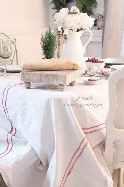 Dropcloth with painted stripes for tablecloth