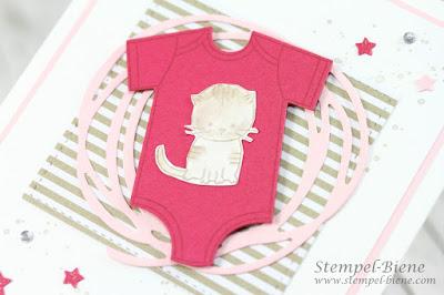 Babykarte zur Geburt; Babykarte Mädchen; Zum Nachwuchs; Stampin up Kleine Prinzessin; Babykatze Karte; Stampinup Ruhrgebiet; Babypartydeko basteln
