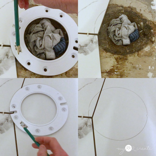 how to mark a perfect circle for tiling around a toilet drain
