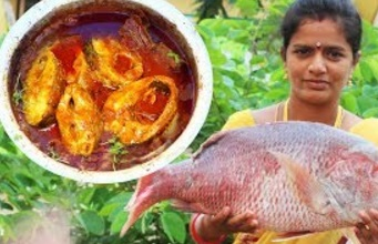 Cambodian Village Style Cooking Big Brown Fish Curry Recipe & How to Cut Up Fish Slices – Sea foods