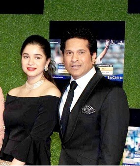 Sara with Father Sachin Tendulkar