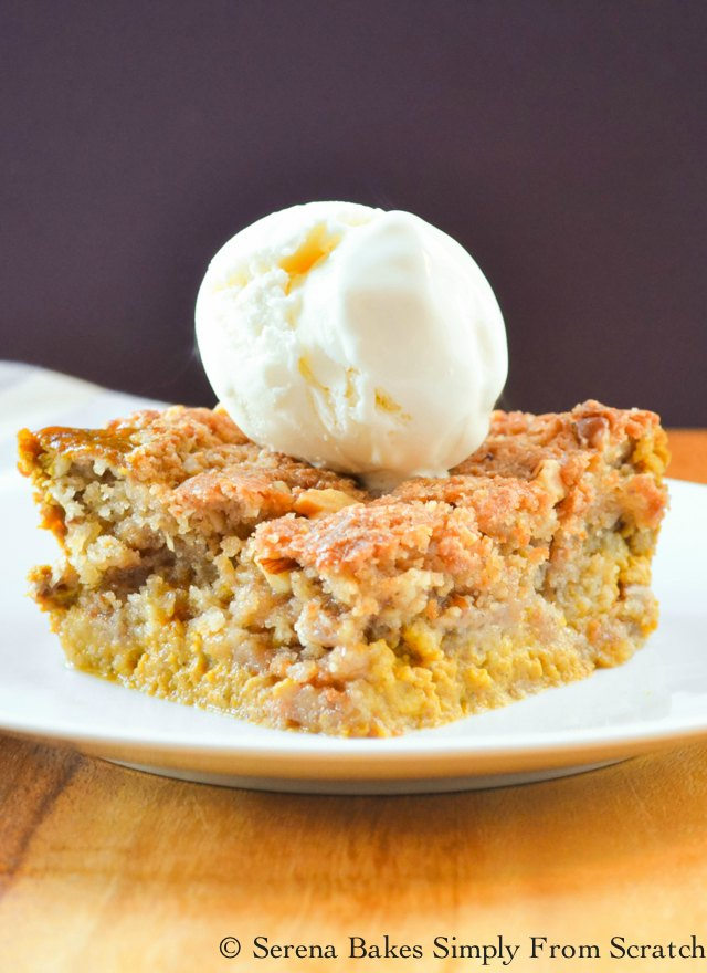 Pumpkin Cobbler with walnuts or pecans is easy to make and a great alternative to pumpkin pie! Delicious pumpkin spiced filling covered in crunch brown sugar spiced cobbler topping from Serena Bakes Simply From Scratch.