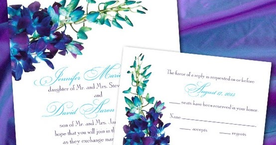 Blue Orchid Wedding Invitations: Pound The Alarm: Custom Blue Orchid Wedding Invitations By