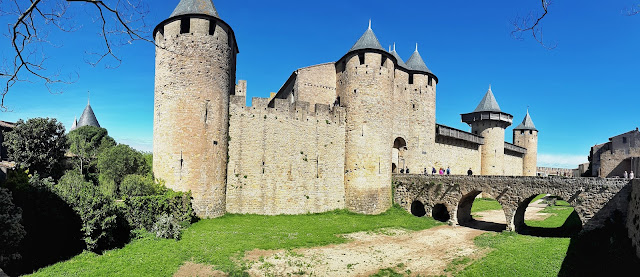 Carcassonne castle inside of the medieval citadel.