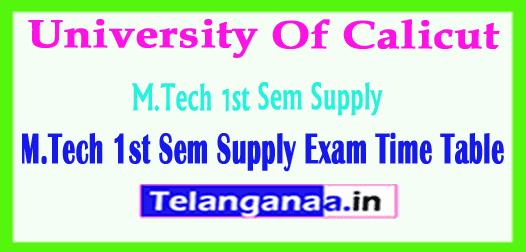 University Of Calicut M.Tech 1st Sem Supply 2018 Exam Time Table