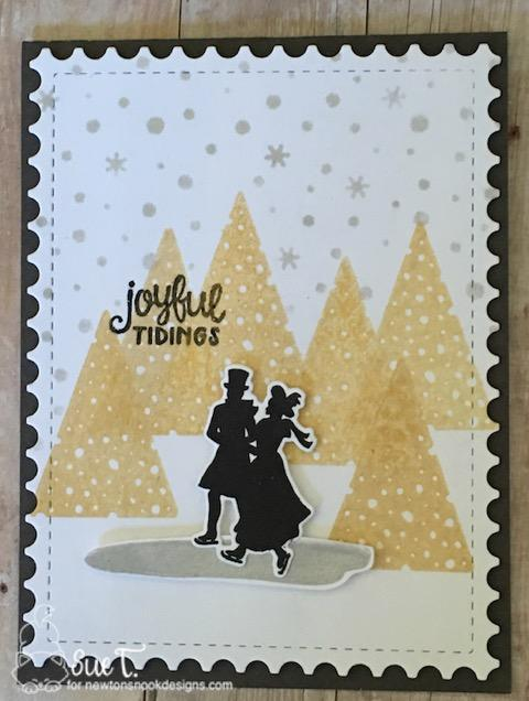 Joyful Tidings by Sue features Petite Snow, Festive Forest, Winter Memories, Framework by Newton's Nook Designs; #newtonsnook