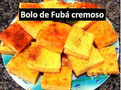 Receita de Bolo de fubá cremoso com queijo