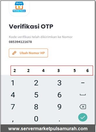 verifikasi OTP market mobile topup
