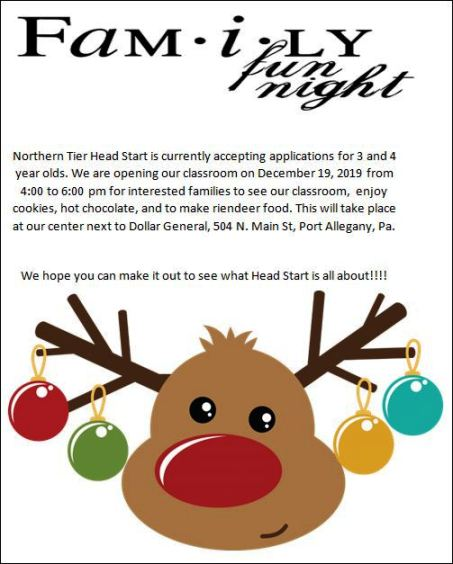 12-19 Family Fun Night, Northern Tier Head Start, Port Allegany