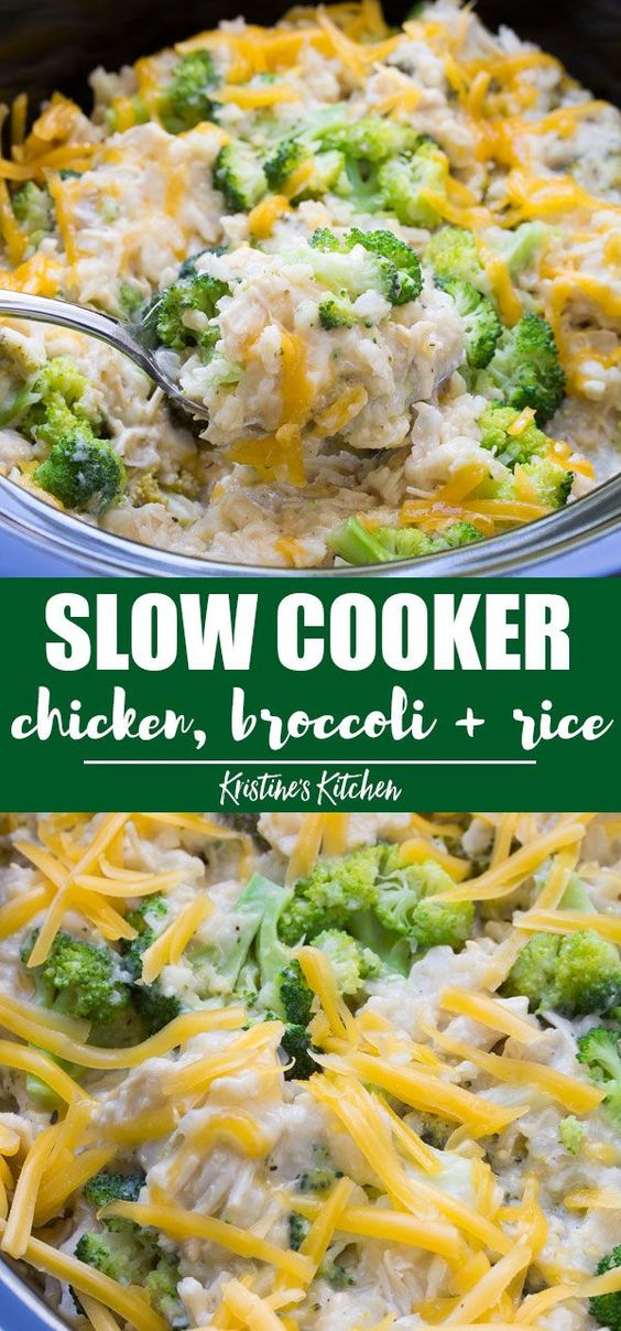 Cheesy Chicken Broccoli Rice Slow Cooker