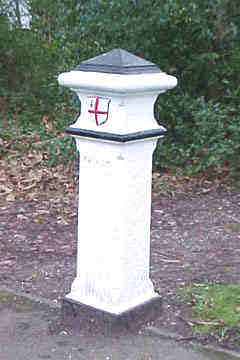 Picture of the coal post at Potters Bar's Church Road junction with A1000 OS ref: TL 260 022