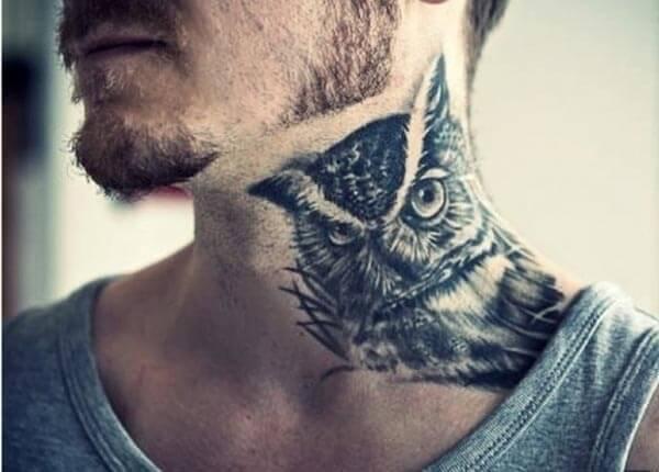 baykuş boyun dövmesi