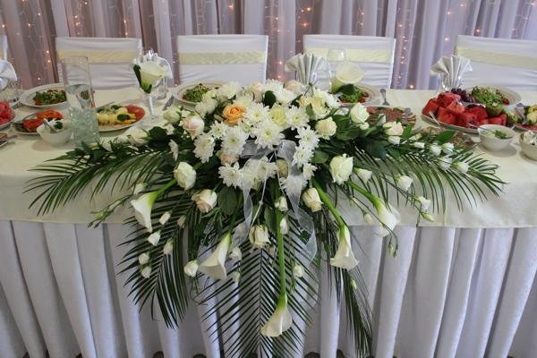 Большой букет на стол для невесты и жениха