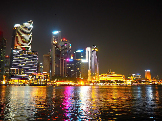 Skyline at night by the bay, Singapore