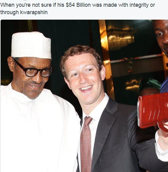 Lol. See this hilarious meme of president Buhari and Mark Zuckerberg