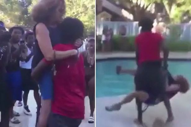 Elderly woman is 'body slammed' and hurled into pool