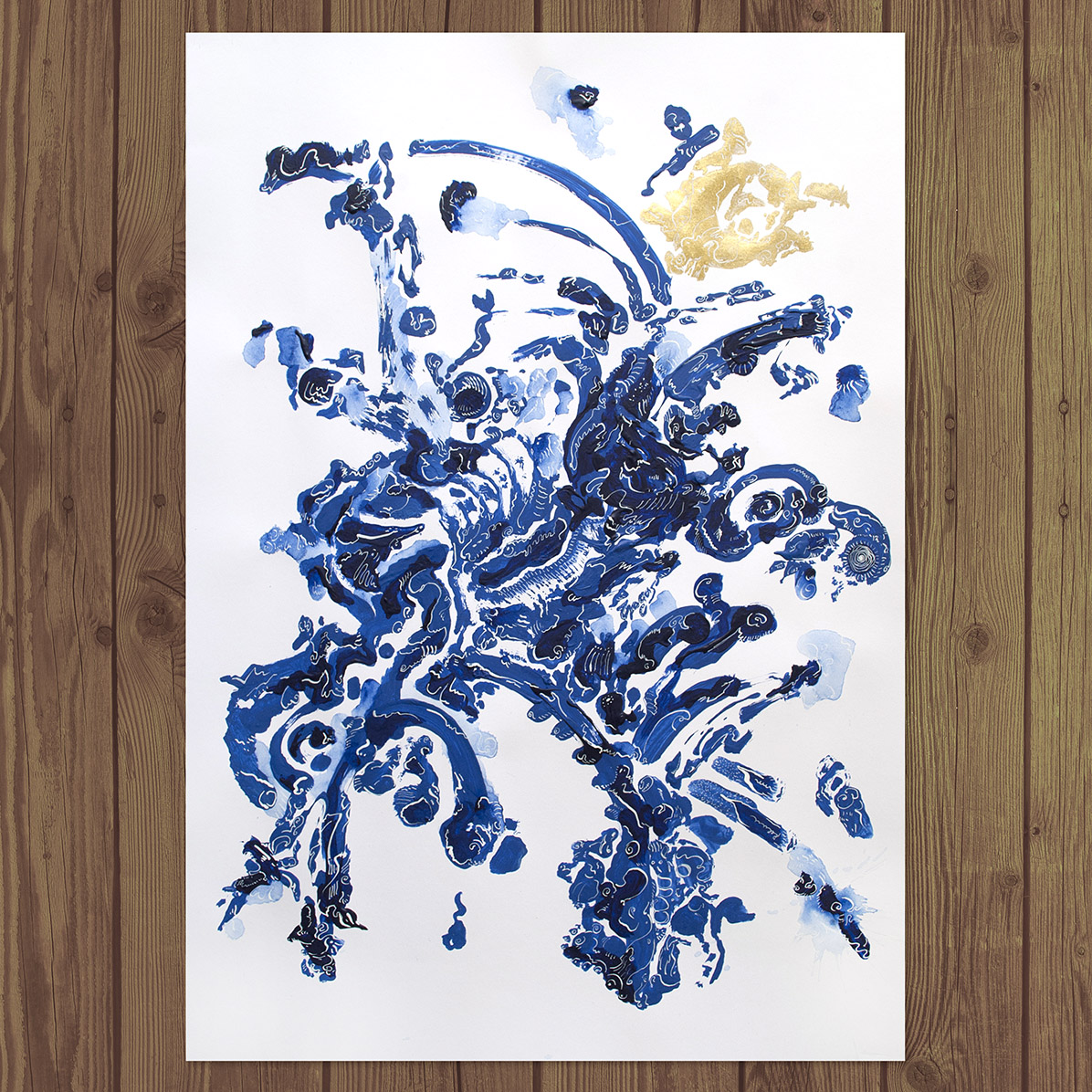 Photo of Kostas Gogas' Artwork Gold and Blue Abstract