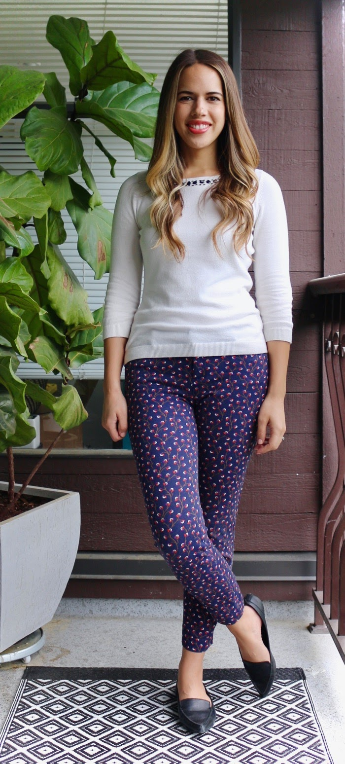 Jules in Flats - Patterned Ankle Pants for Work -