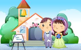 Just merried cartoon romantic