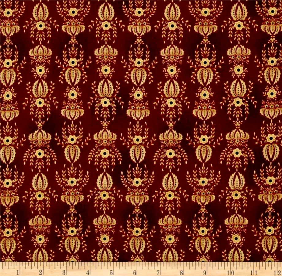 Kim Diehl Farmstead Flocked Wallpaper Ruby Discount Designer
