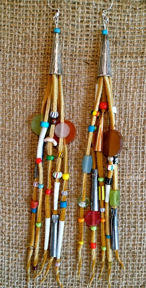 more in my Etsy store... leather fringe and trade bead earrings