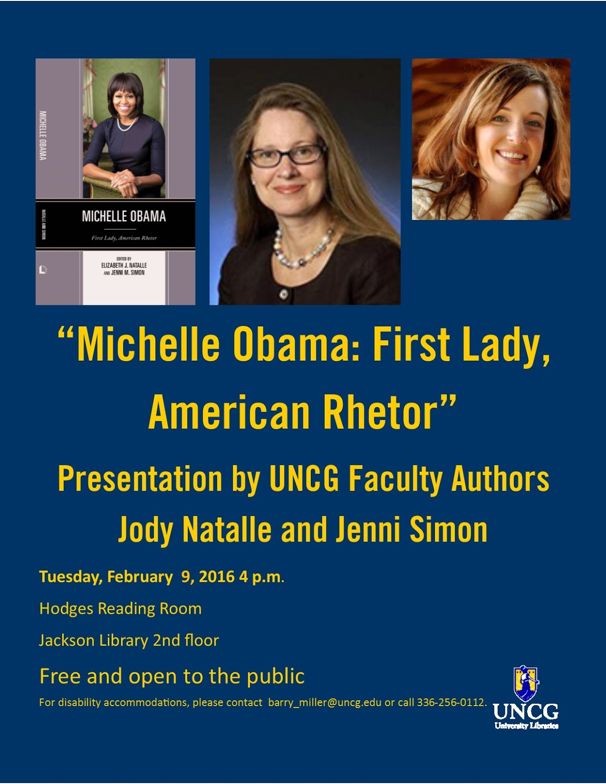 """Tuesday, February 9: """"Michelle Obama: First Lady, American Rhetor""""  presentation by UNCG faculty authors Jody Natalle and Jenni Simon."""