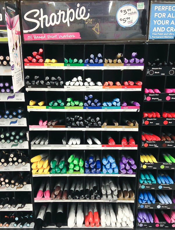 Display of sharpie markers
