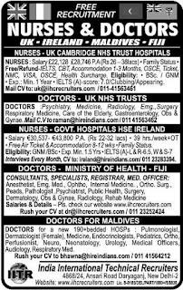 Nurses & Doctors recruitment to UK & Ireland
