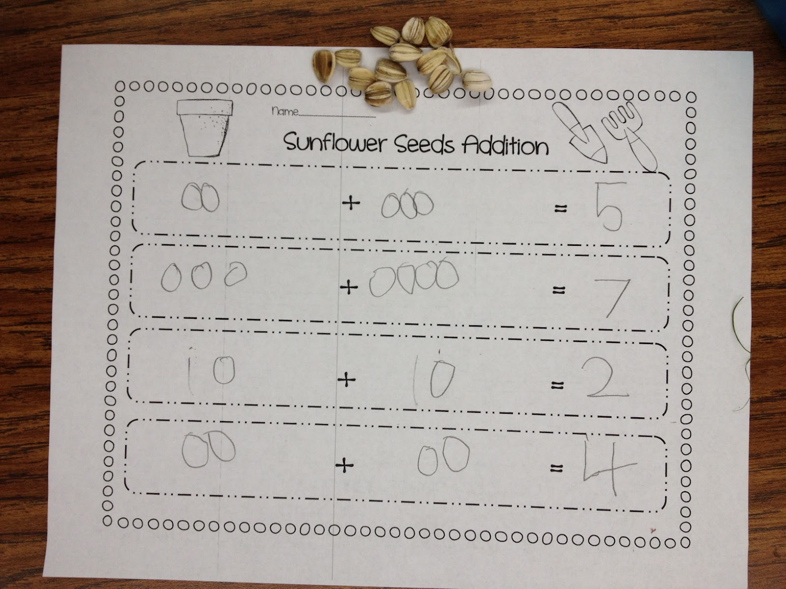Sunflower Seed Math Adding
