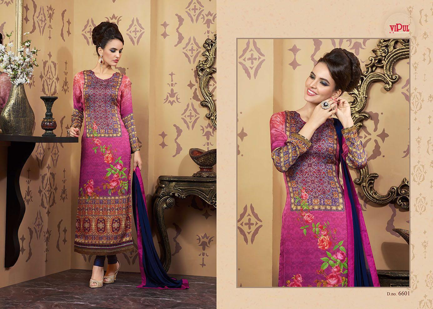 Zinnia – Printed Embroidered Churidar Salwar Suit